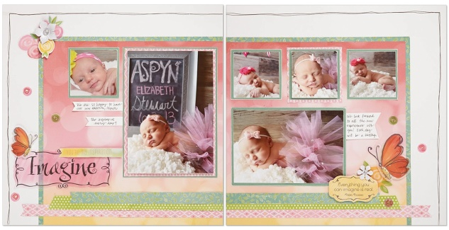 Brushed scrapbook layout
