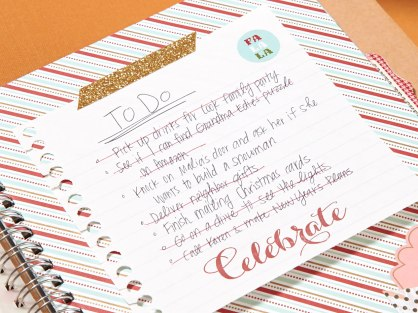 Use Shimmer Trim to attach one of your many Christmas to-do lists. Embellish your list with stamps and stickers while you're at it.