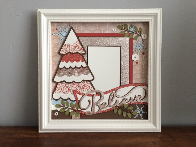Learn how to make this beautiful Christmas shadow box! #ctmh #closetomyheart #ctmhwhitepines #diychristmas #papercrafting #christmasdecor