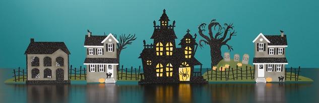Create your own paper Halloween village! #ctmh #closetomyheart #diyhalloweendecor #halloweencrafts #cricut #halloweendecorations #crafting