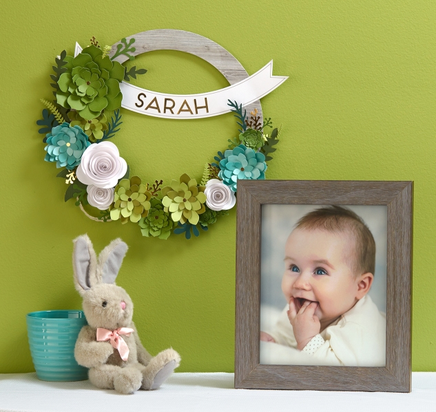 Create this easy, adorable paper succulent wreath for less than $20 with our Welcome Home wreath kit! (US pricing) #ctmh #closetomyheart #papersucculents #diywreath #wreathkit #nurserydecor #babydecor #littlegirlsroom #decor #affordable #diy