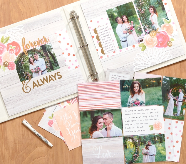 An affordable scrapbooking kit for beginners! All you need is adhesive! #ctmh #closetomyheart #scrapbookingkit #quick #beginner #wedding #bridal #gift