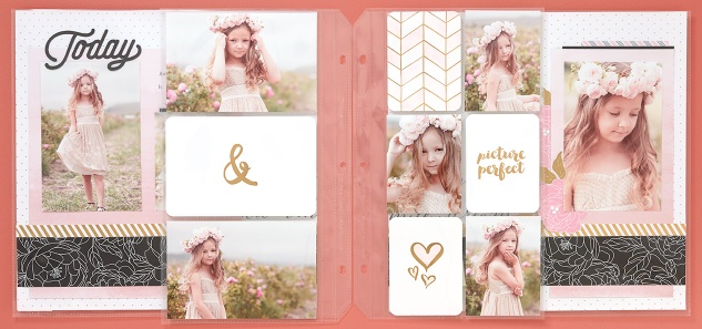 Layout with Pocket Plus Memory Protectors #CTMH #CloseToMyHeart #pictureperfect #littlegirl #scrapbooking #scrapbook #flowerpaper #pocketplus #memoryprotectors