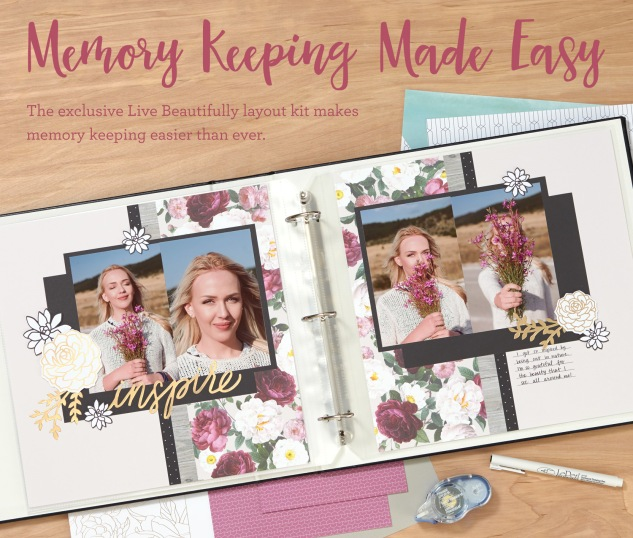 An amazing scrapbooking kit with pre-cut pieces and stickers! #ctmh #closetomyheart #livebeautifully #memorykeeping #scrapbooking #fast #easy #kit