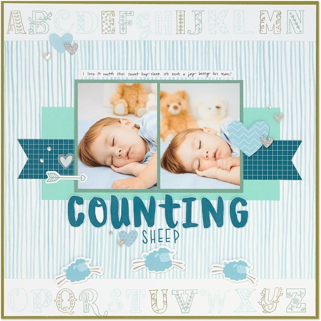Counting Sheep #closetomyheart #ctmh #layout #countingsheep #sleeping #alphabetstamp #alphabet #scrapbooking