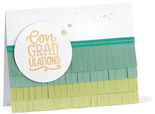 Ombre paper fringe #ctmh #closetomyheart #card #cardmaking #congratulations #graduation #graduate #ombre #chromatic #colorchromatic #monochromatic