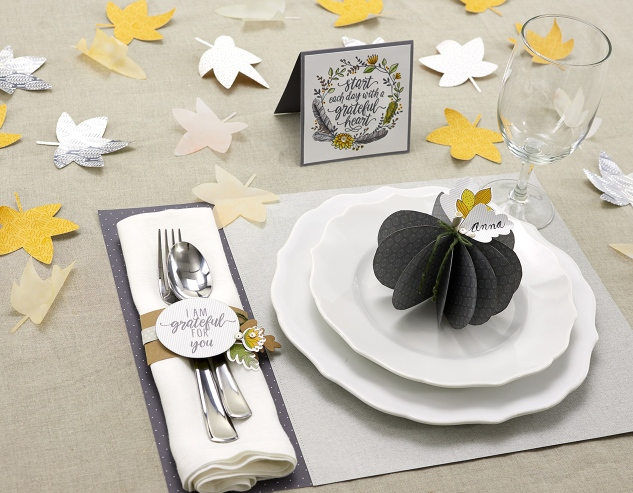 Dressing a Table #ctmh #closetomyheart #holiday #thanksgiving #dinner #diy #placemat #pumpkin #paperleaves #napkinband #placesetting
