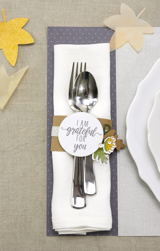 Dressing a Table #ctmh #closetomyheart #holiday #thanksgiving #dinner #diy #napkinband #silverware #grateful