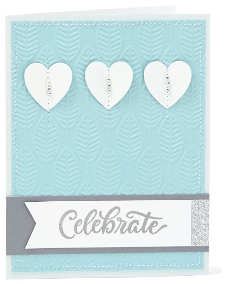 holiday favorites #ctmh #closetomyheart #celebrate #card #diy #hearts #paper #craft #emboss #embossing #leaf #leafs #leaves #blue #glacier