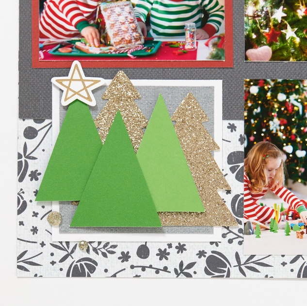 Through the Year Calendar Kit #ctmh #closetomyheart #diy #photocalendar #calendar #kit #throughtheyear #die-cuts #diecuts #gold #glitter #Christmas #tree #pine #star