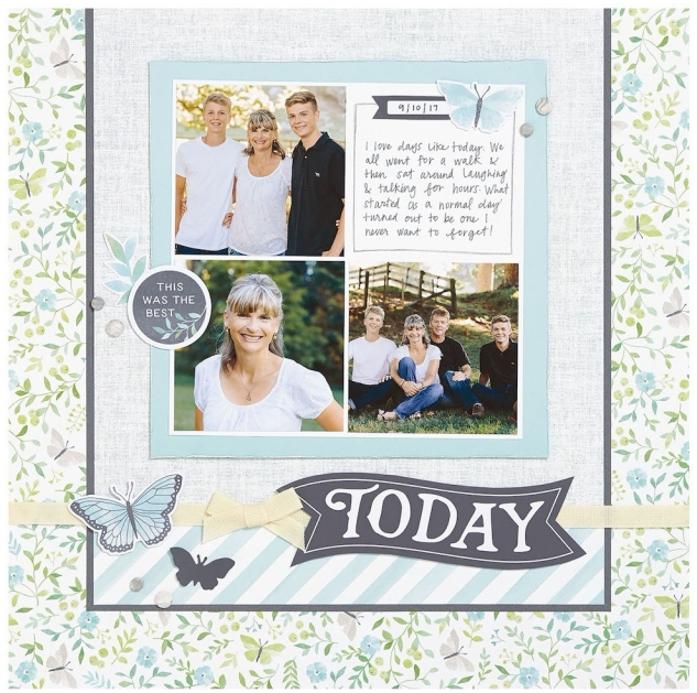 Complement Day #ctmh #closetomyheart #diy #page #scrapbook #scrapbooking #complements #compliments #stickers #flowers #floral #butterflies #butterfly #layout #today #Chelsea #gardens #memorykeeping #memory #keeping #photos #album #feminine