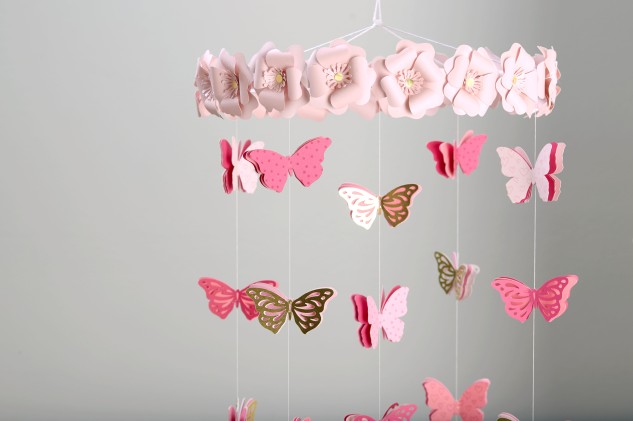 Pretty in Pink Butterfly Mobile #ctmh #closetomyheart #butterfly #mobile #prettyinpink #pretty #pink #bashful #pixie #blossom #gold #foil #raspberry #white #twine #girl #baby #cricut #design #space #nursery