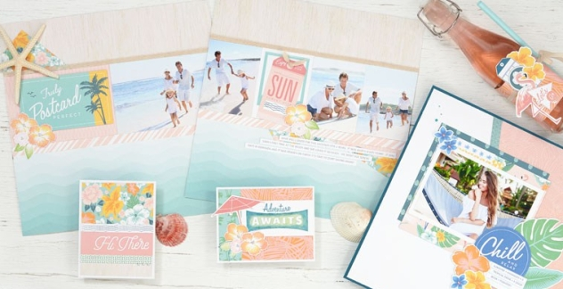 May Is Postcard Perfect #ctmh #closetomyheart #ctmhpostcardperfect #postcardperfect #postcard #perfect #nsm #nationalscrapbookingmonth #national #scrapbooking #month #scrapping #scrapper #cutabove #CutAbove #layout #kit #free #consultant #host #paradise #chill #summer #vacation #sunny #beach #getaway #holiday