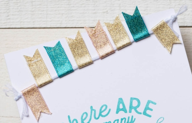 Fun with Ribbon #ctmh #closetomyheart #cthmcreatetherainbow #createtherainbow #ribbon #funwithribbon #craftingwithribbon #ribboncrafts #ribbonbanner #pennantbanner #cardbanner #cardmaking