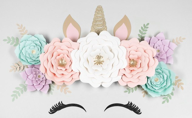 Floral Unicorn Wall #ctmh #closetomyheart #nationalpapercraftingmonth #unicorn #diydecor #cricut #flowermarker #paperflower #paperunicorn #girlsroom #youaregorgeous